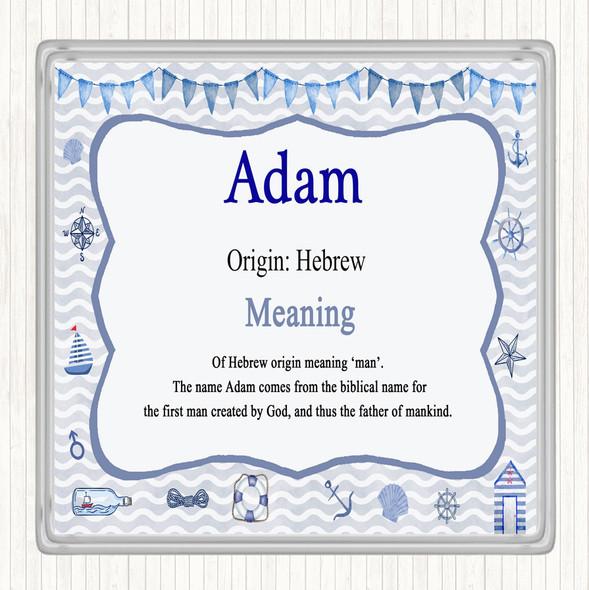 Adam Name Meaning Drinks Mat Coaster Nautical