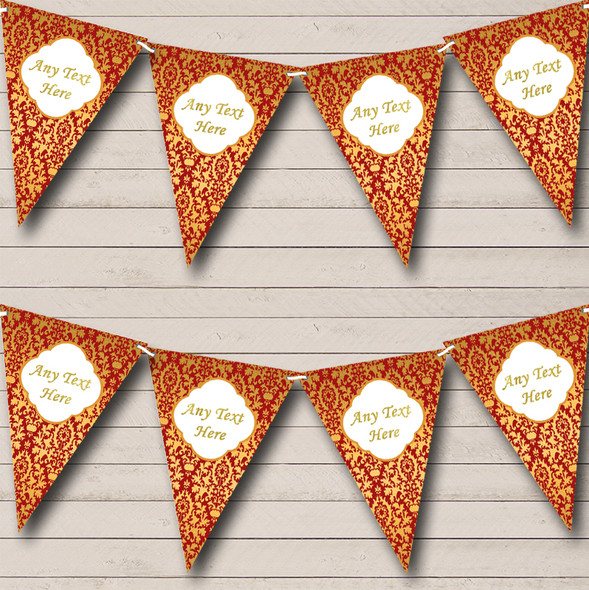 Red And Gold Vintage Regal Damask Personalised Engagement Party Bunting