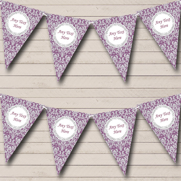 Purple And Silver Vintage Damask Personalised Engagement Party Bunting