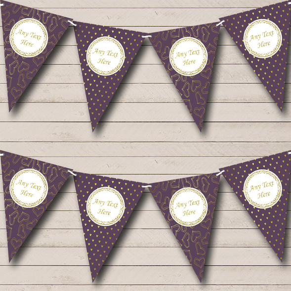 Plum Purple & Gold Love Hearts Personalised Engagement Party Bunting