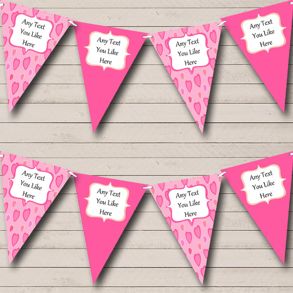 Love Hearts Pink Personalised Engagement Party Bunting