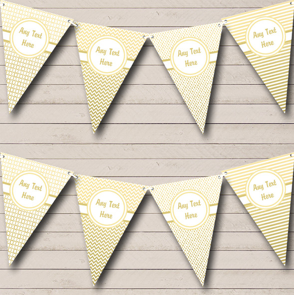 Elegant White And Gold Personalised Engagement Party Bunting