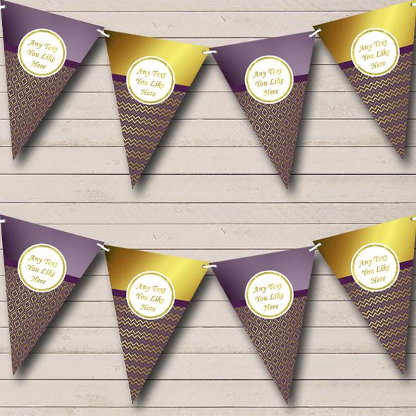 Elegant Plum Purple & Gold Personalised Engagement Party Bunting