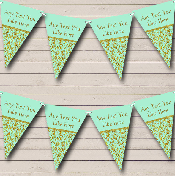Elegant Mint Green And Gold Personalised Engagement Party Bunting