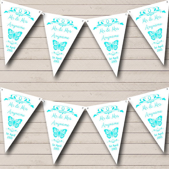 Butterfly Engagement Butterfly Aqua Personalised Engagement Party Bunting