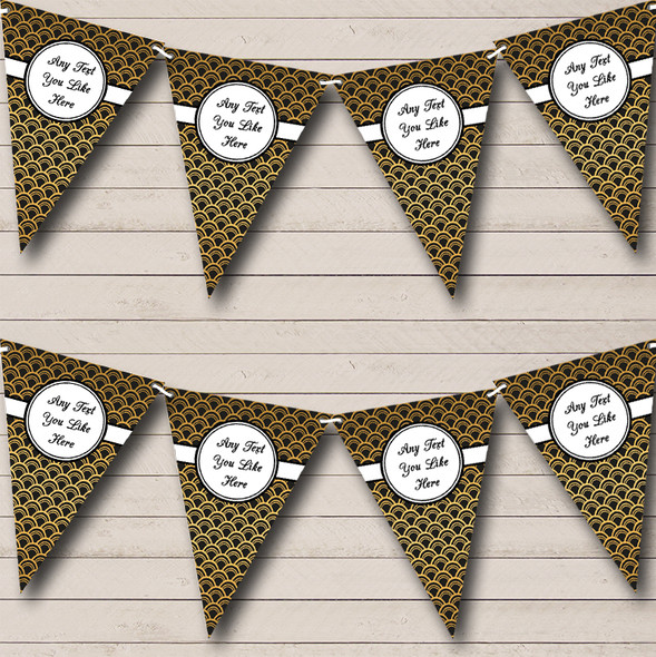 Black And Gold Personalised Engagement Party Bunting