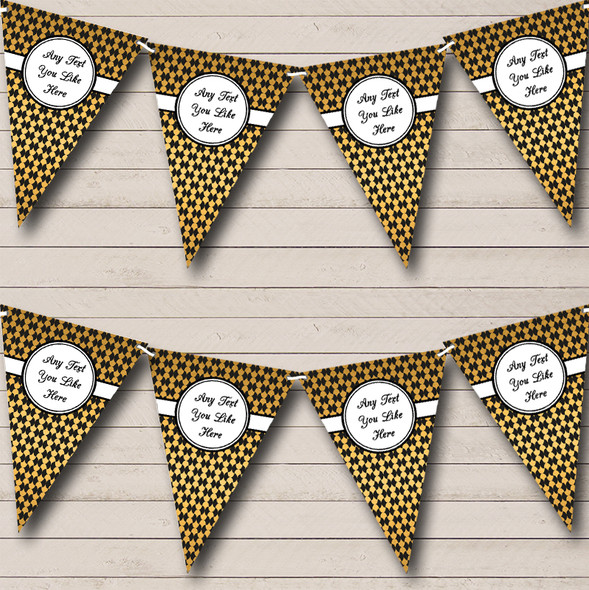 Black And Gold Pattern Personalised Engagement Party Bunting