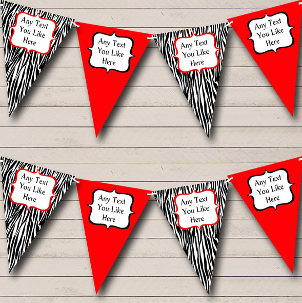 Zebra Print & Red Personalised Hen Do Night Party Bunting