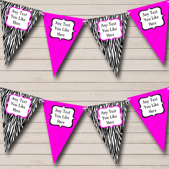 Zebra Print & Hot Pink Personalised Hen Do Night Party Bunting
