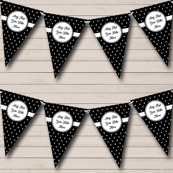 White & Black Chic Polkadot Personalised Hen Do Night Party Bunting