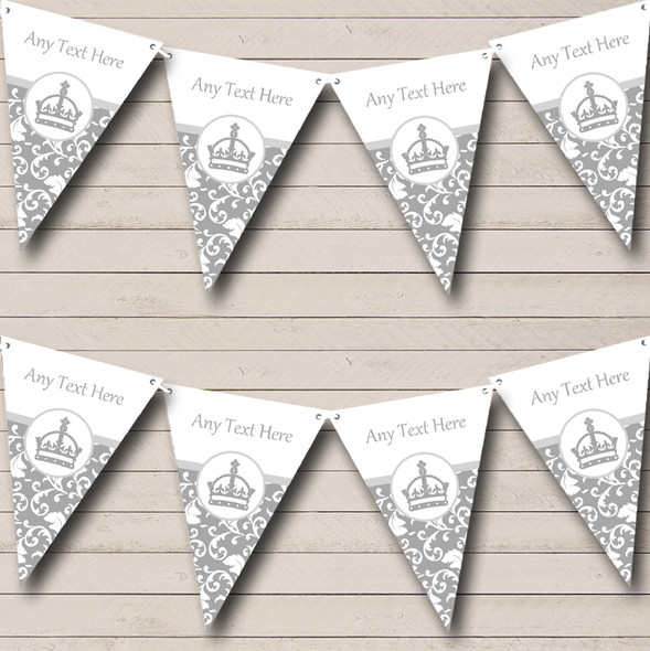 Silver Grey Princess Crown Personalised Hen Do Night Party Bunting