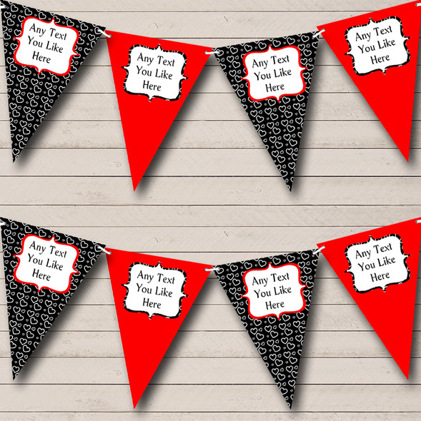 Red & Black Hearts Personalised Hen Do Night Party Bunting
