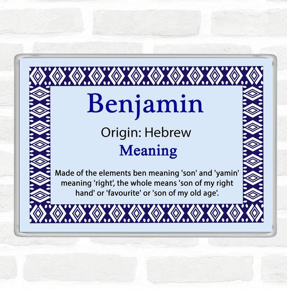 Benjamin Name Meaning Jumbo Fridge Magnet Blue