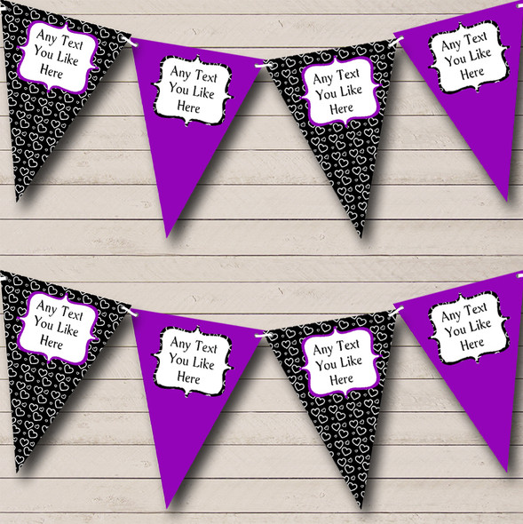 Purple & Black Hearts Personalised Hen Do Night Party Bunting