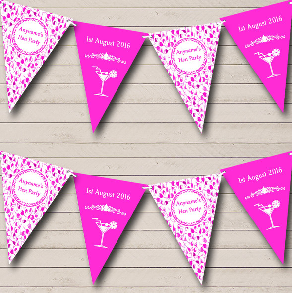 Pink White Cocktails Personalised Hen Do Night Party Bunting