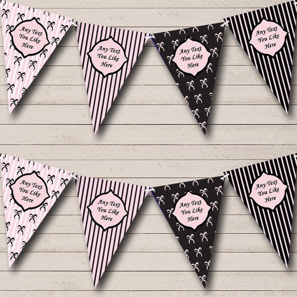 Paris Stripes Bows Black Pink French Personalised Hen Do Night Party Bunting
