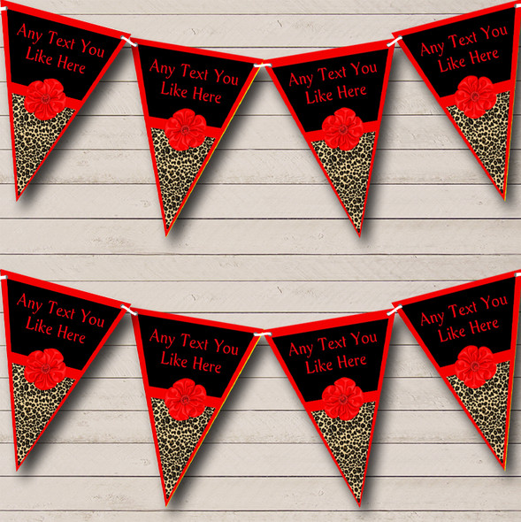 Leopard Print Red Bow Personalised Hen Do Night Party Bunting