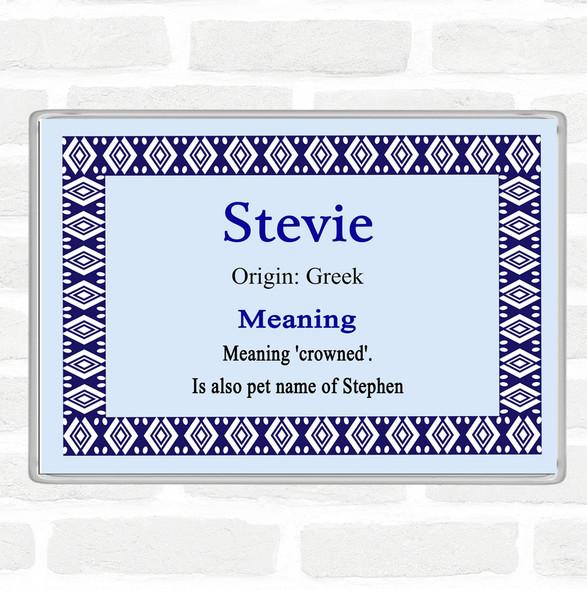 Stevie Name Meaning Jumbo Fridge Magnet Blue