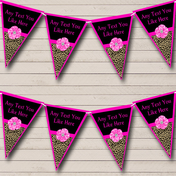 Leopard Print Bright Pink Bow Personalised Hen Do Night Party Bunting