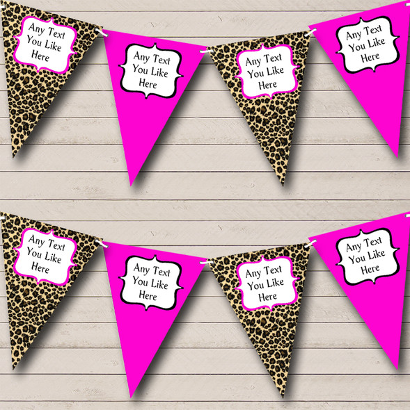 Leopard Print & Hot Pink Personalised Hen Do Night Party Bunting