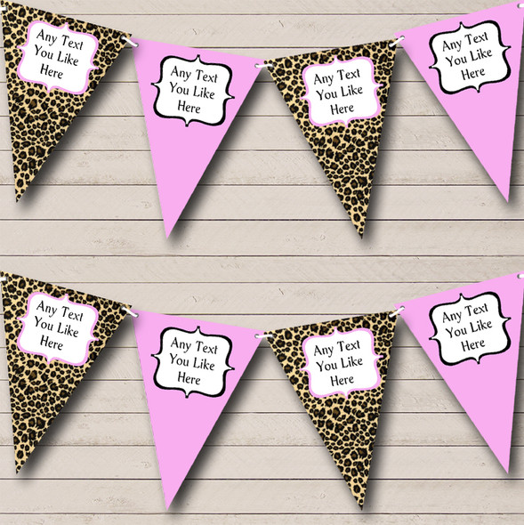 Leopard Print & Baby Pink Personalised Hen Do Night Party Bunting