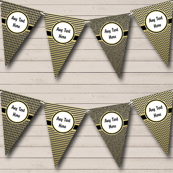Elegant Black & Gold Personalised Hen Do Night Party Bunting