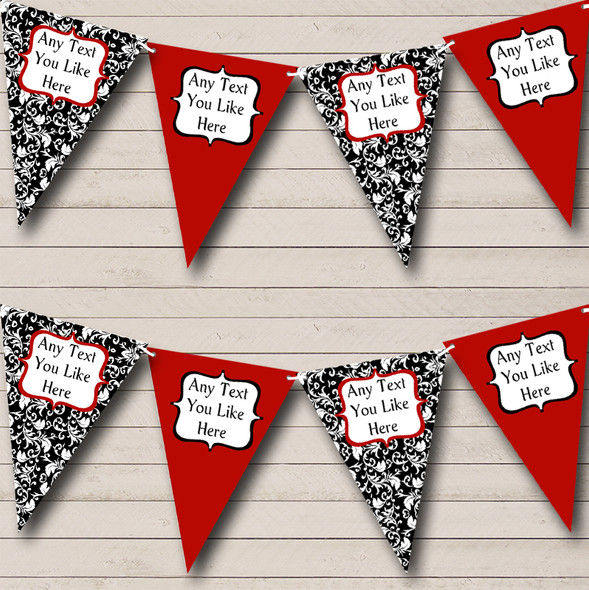 Deep Red White Black Damask Personalised Hen Do Night Party Bunting
