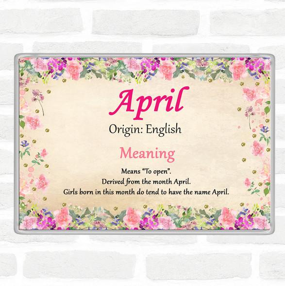 April Name Meaning Jumbo Fridge Magnet Floral
