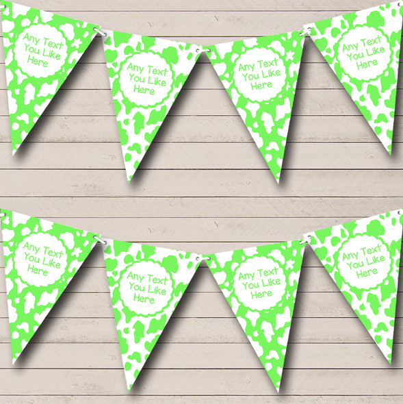Cow Print Animal Lime Green Personalised Hen Do Night Party Bunting