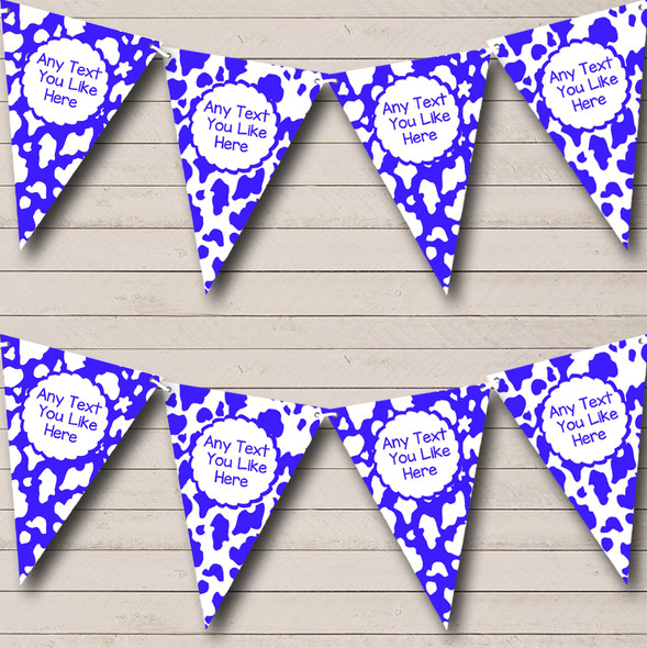Cow Print Animal Blue White Personalised Hen Do Night Party Bunting