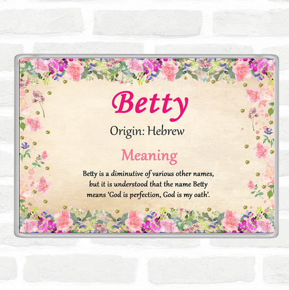 Betty Name Meaning Jumbo Fridge Magnet Floral