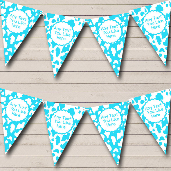 Cow Print Animal Aqua White Personalised Hen Do Night Party Bunting