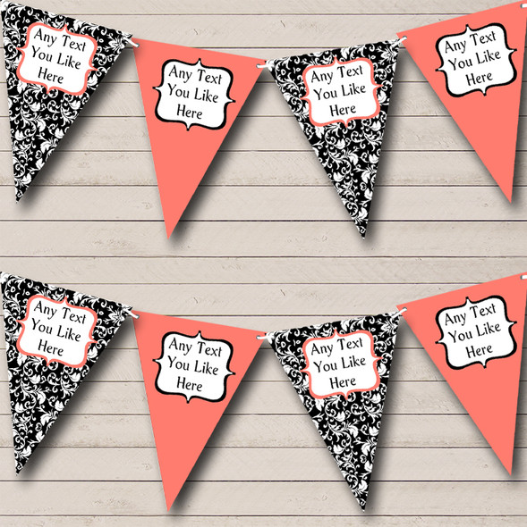 Coral White Black Damask Personalised Hen Do Night Party Bunting
