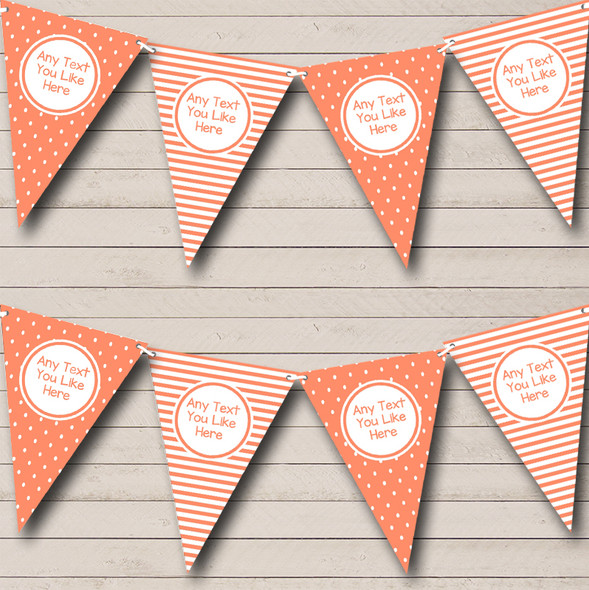 Coral Polkadot & Stripes Personalised Hen Do Night Party Bunting