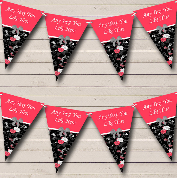 Coral Pink & Black Shabby Chic Vintage Personalised Hen Do Night Party Bunting