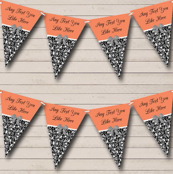 Coral Damask Shabby Chic Vintage Personalised Hen Do Night Party Bunting