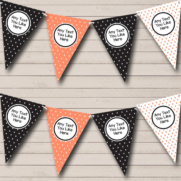 Coral & Black Polkadot Personalised Hen Do Night Party Bunting