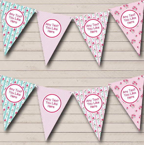 Chintz Shabby Chic Roses Pink Stripes Personalised Hen Do Night Party Bunting