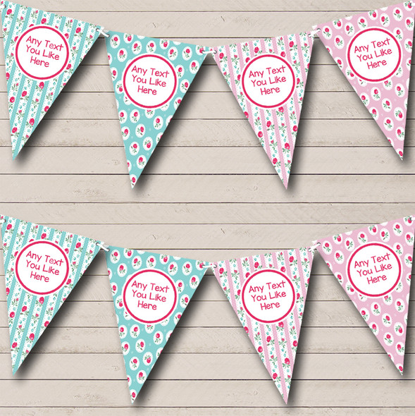 Chintz Shabby Chic Roses Pink Green Personalised Hen Do Night Party Bunting