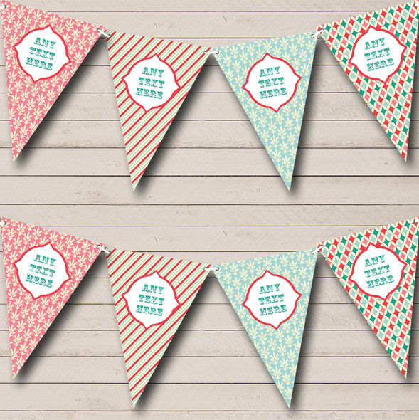 Chintz Roses Pink Stripes Pretty Personalised Hen Do Night Party Bunting