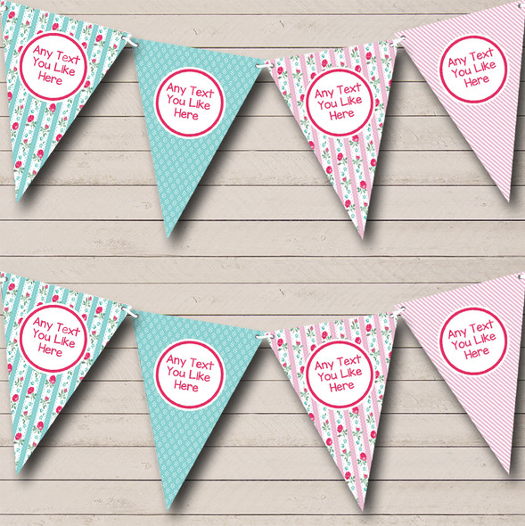 Chintz Roses Pink Stripes Green Personalised Hen Do Night Party Bunting