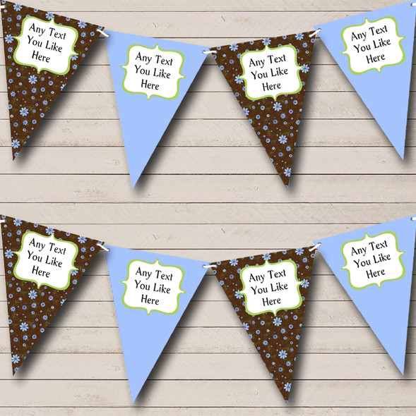 Brown Blue Shabby Chic Personalised Hen Do Night Party Bunting