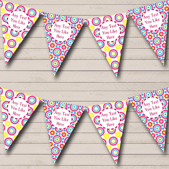 Bright Pink Yellow Blue Flower Personalised Hen Do Night Party Bunting