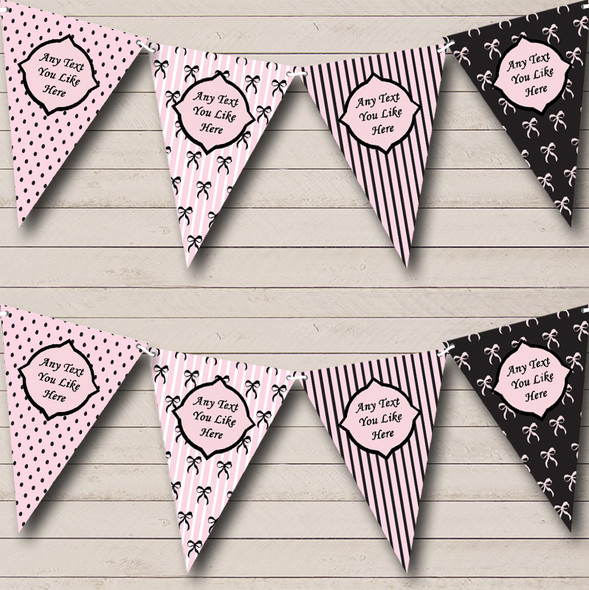 Bows Spots French Pink Black Personalised Hen Do Night Party Bunting