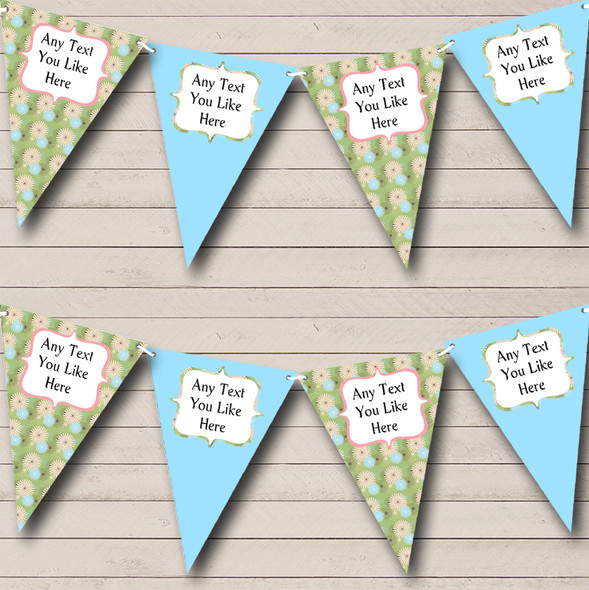 Blue Vintage Shabby Chic Floral Personalised Hen Do Night Party Bunting