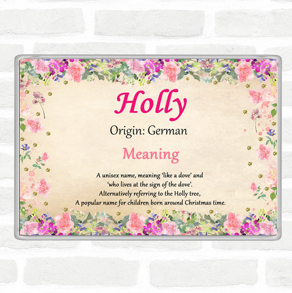 Holly Name Meaning Jumbo Fridge Magnet Floral