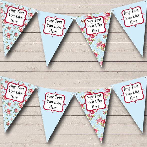 Blue Shabby Chic Floral Personalised Hen Do Night Party Bunting