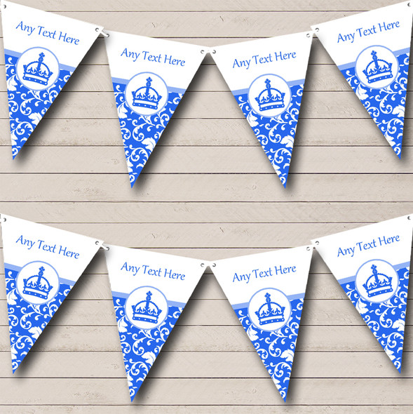 Blue Princess Crown Personalised Hen Do Night Party Bunting