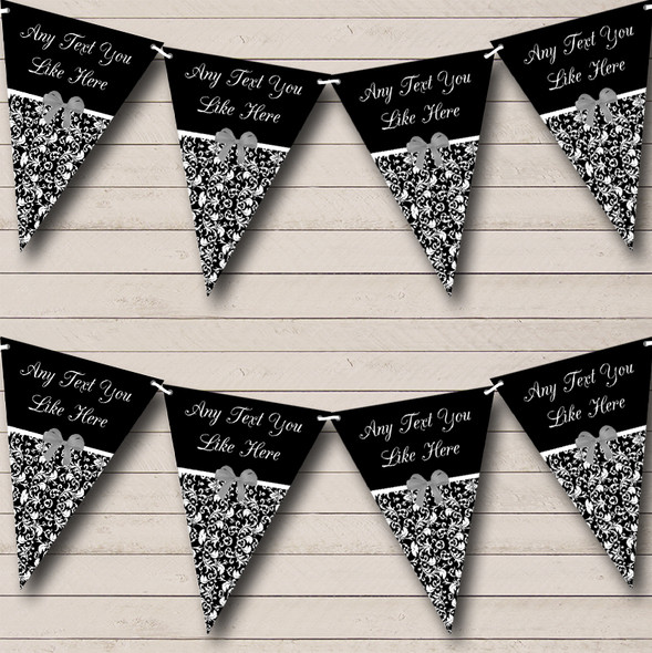 Black White Damask Shabby Chic Vintage Personalised Hen Do Night Party Bunting