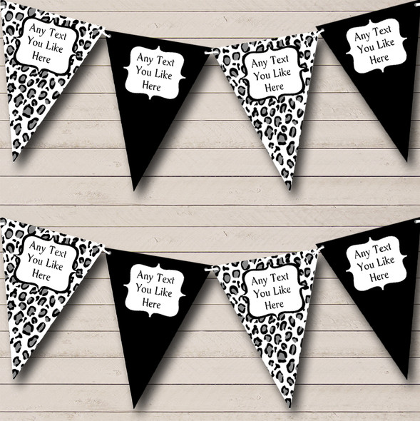 Black White Animal Print Personalised Hen Do Night Party Bunting